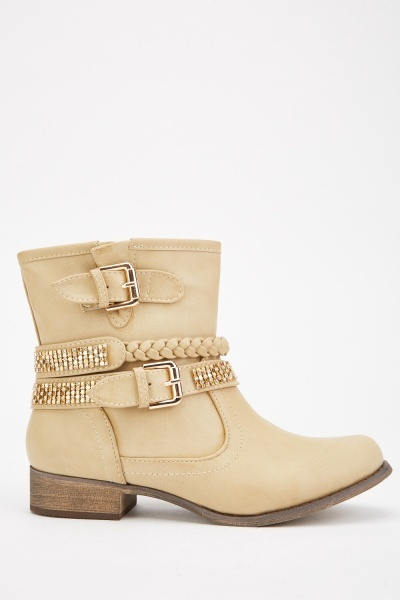 Braided Trim Ankle Boots