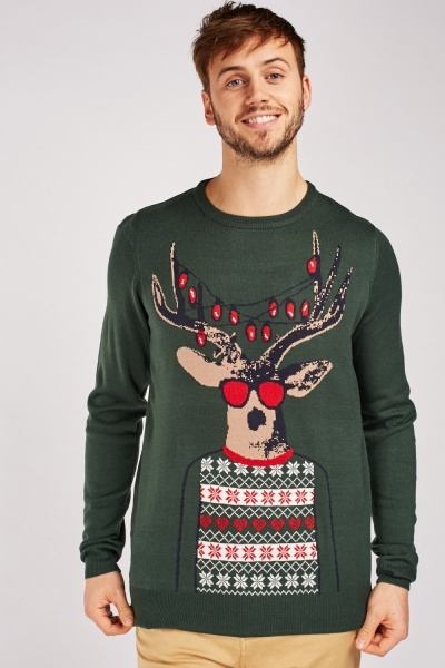 Reindeer Lights Christmas Jumper