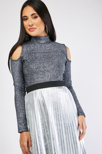 Cold Shoulder Lurex Top