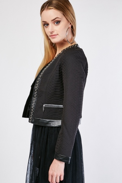 Eyelet Trim Faux Leather Jacket