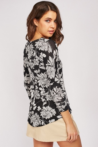 Flower Print 3/4 Sleeve Top