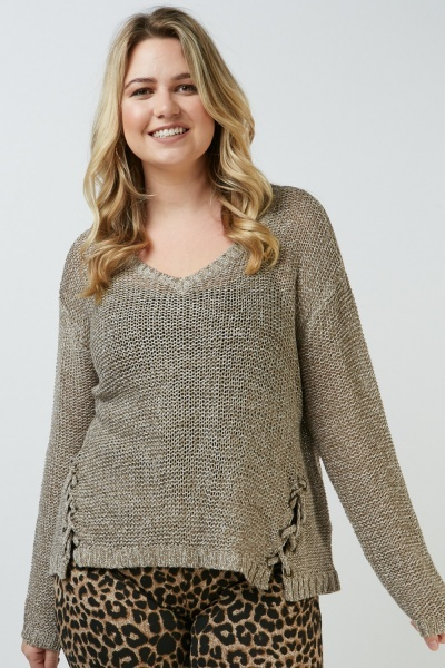 Lace Up Eyelet Trim Knit Sweater