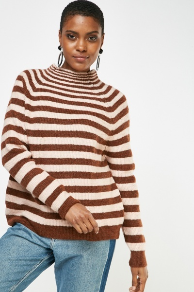 Raglan Sleeve Striped Knit Jumper