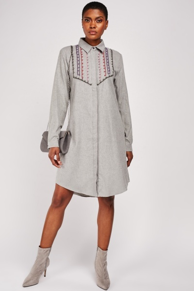 Faux Pearl Encrusted Shirt Dress