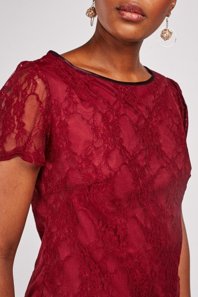 Short Sleeve Lace Overlay Top