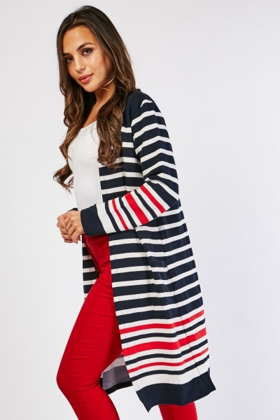 Textured Striped Midi Cardigan