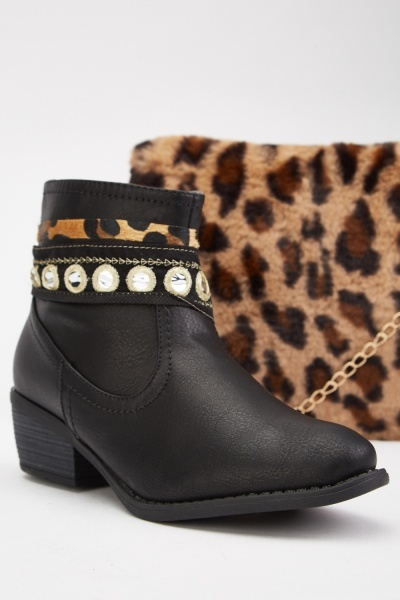 Leopard Panel Ankle Boots