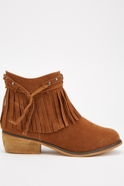 Studded Plaited Fringed Boots