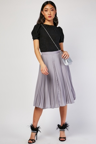 Pleated Textured Midi Skirt
