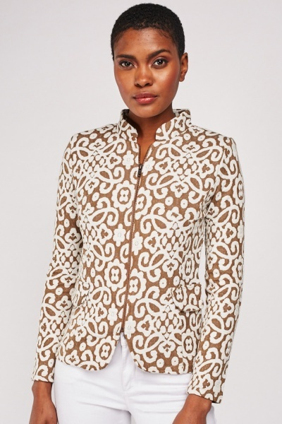 Vintage Patterned High Neck Jacket
