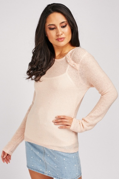 Decorative Button Trim Sheer Knit Jumper