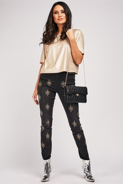 Encrusted Diamante Skinny Jeans