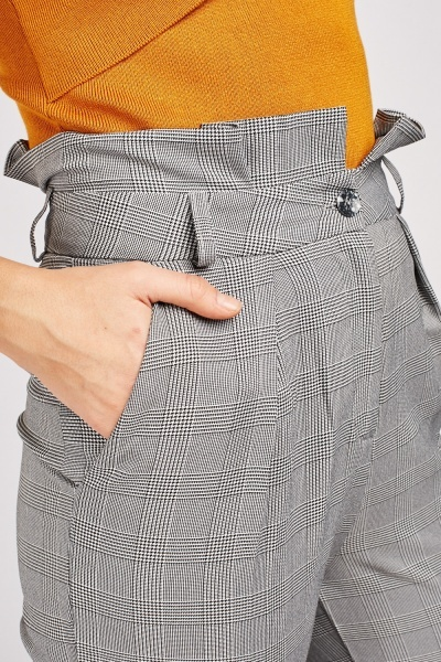Glen Check Paper-Bag Trousers