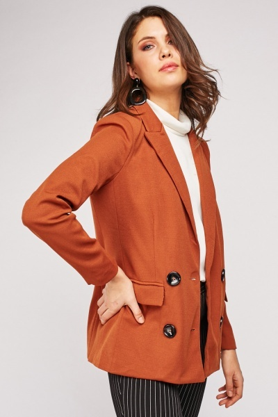Lapel Front Double Breasted Blazer