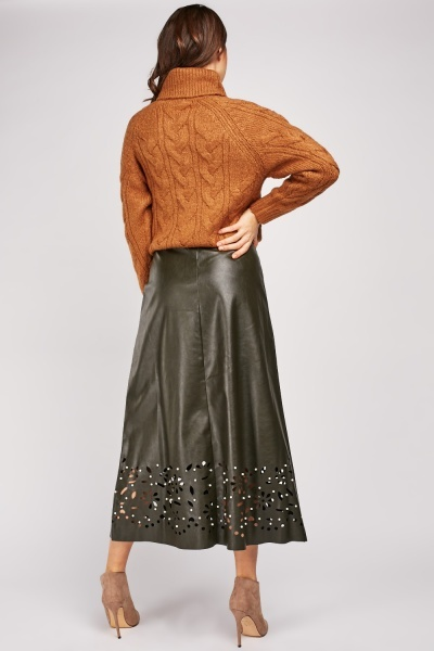 Laser Cut Pearl Detail Leather Skirt