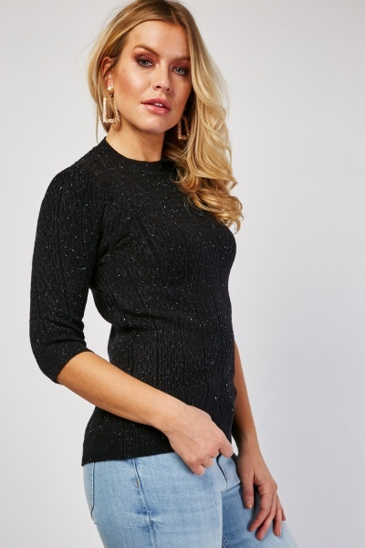 Metallic Thread Pattern Knit Jumper