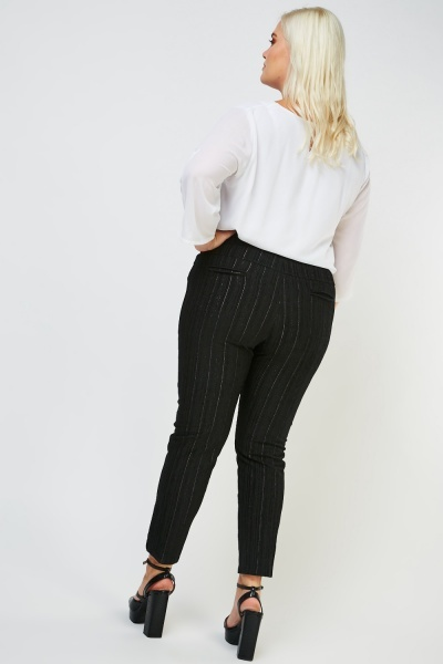 Striped Metallic Tapered Trousers