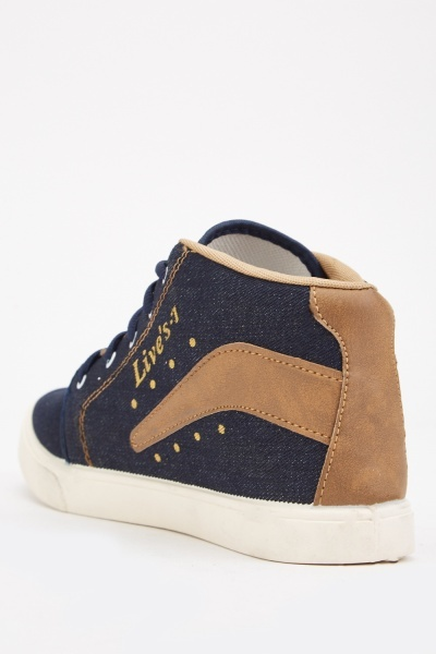 Colour Block Denim Style High Top Trainers
