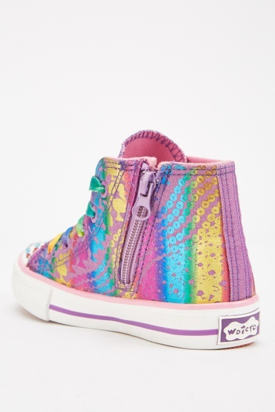 Encrusted Multi-Colour High Top Trainers