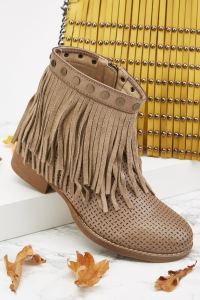 Laser Cut Fringed Ankle Boots