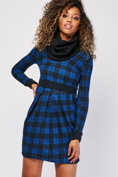 Checkered Rib Knit Panel Dress