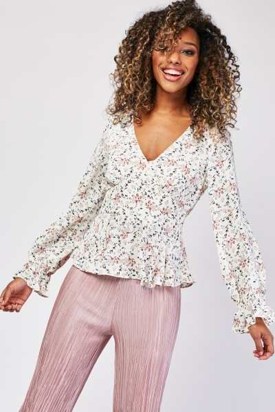 Ditsy Floral Print Peplum Blouse