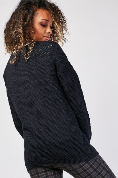 Open Front Textured Knit Cardigan