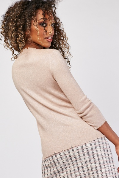 Shimmery Raw Edge Knit Top