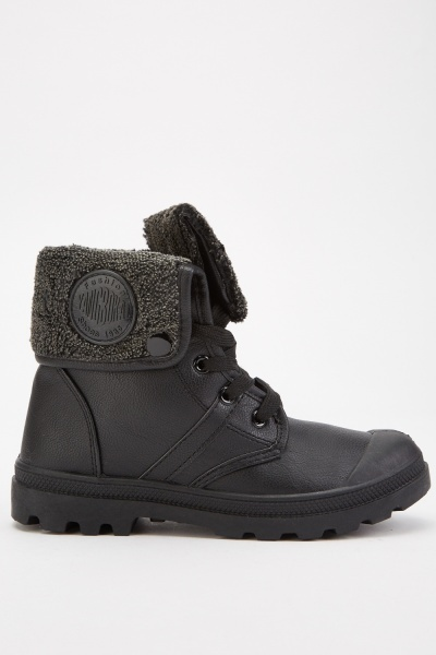 Flap Over Teddy Fur Boots