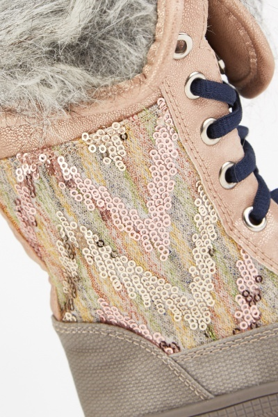 Kids Sequin Contrast Lace Up Boots
