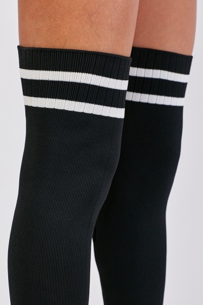 Knee High Ribbed Sock Overlay Boots