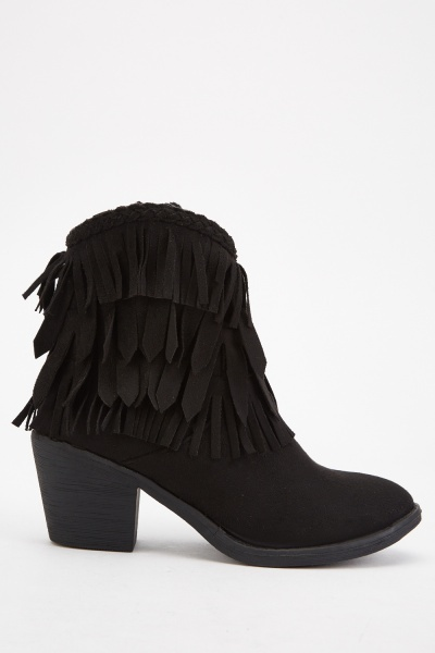 Suedette Fringed Ankle Boots