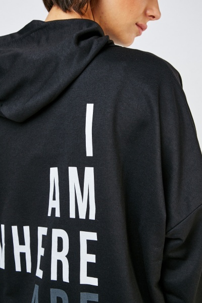 Slogan Printed Back Long Hoodie