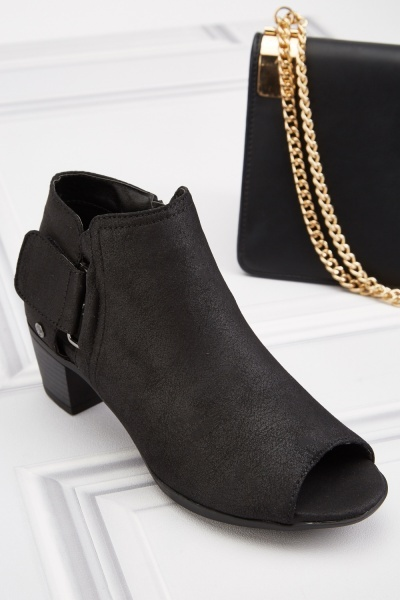 Open Toe Hoop And Loop Side Ankle Boots