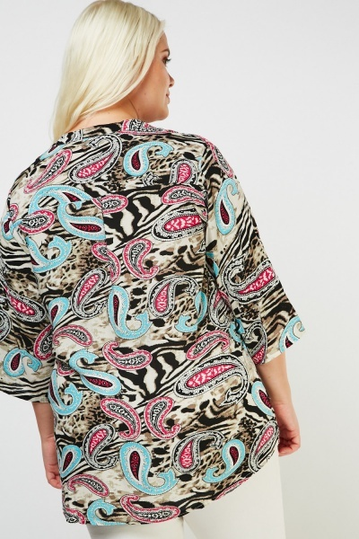 Paisley Animal Print Contrast Blouse