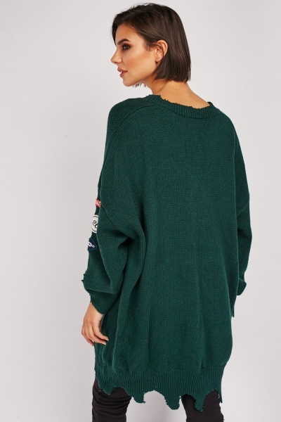 Patch Trim Distressed Knit Jumper