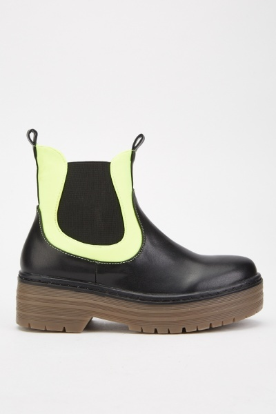 Contrasted Elasticated Panel Boots
