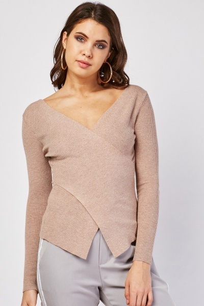 Basic Ribbed Wrap Top