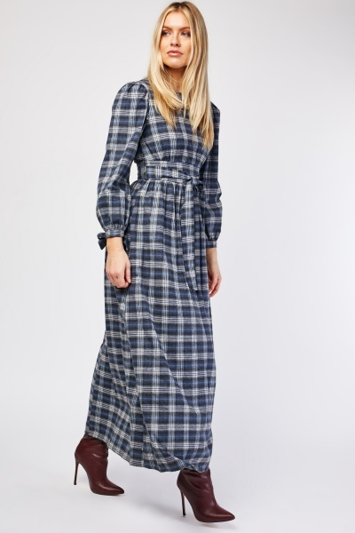 Checkered Belted Maxi Dress