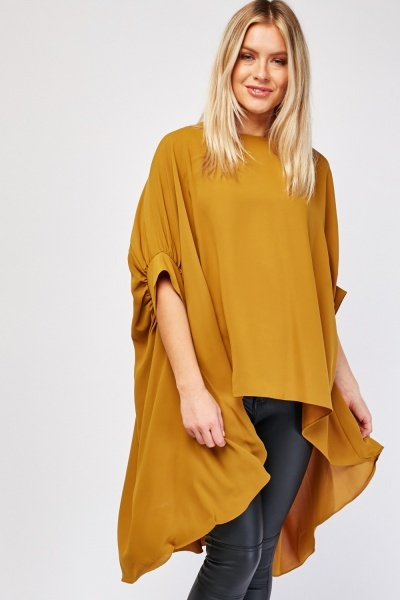 Oversized Chiffon Dip Hem Top