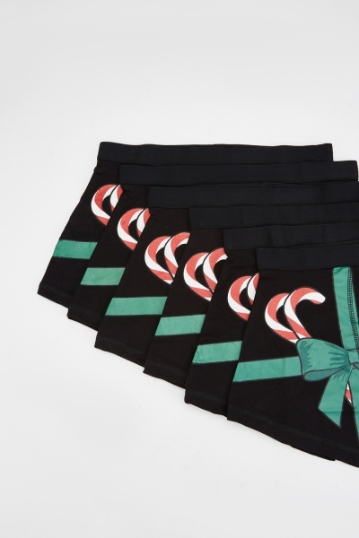 Pack Of 6 Candy Cane Print Boxers