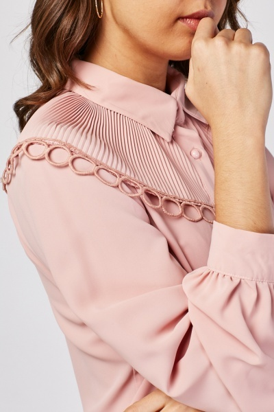 Pleated Crochet Overlay Shirt