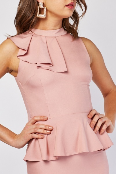 Pleated Ruffle Detail Peplum Dress
