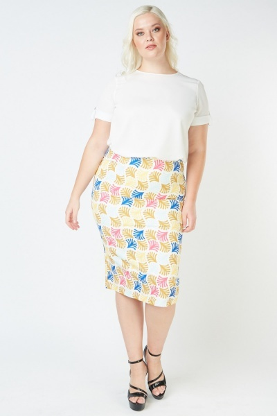Printed Midi Pencil Skirt