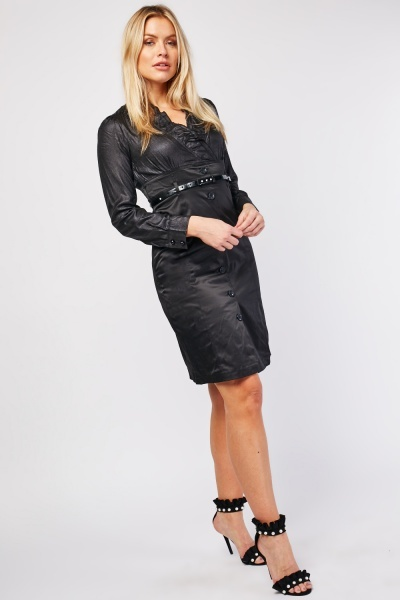 Ruffle Front Belted Sateen Dress