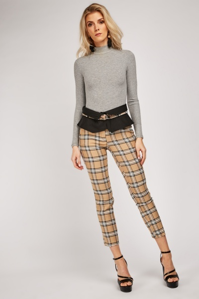 Checkered Peplum Panel Trousers