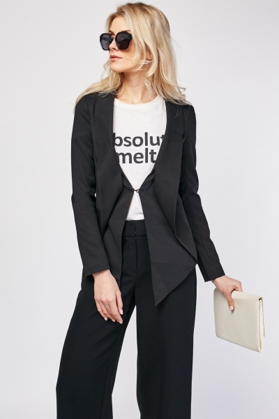 Cut Out Shawl Collar Tuxedo Blazer