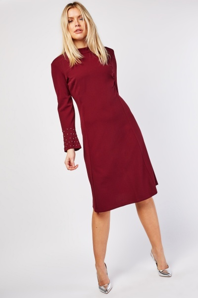 Encrusted Sleeve Midi Dress