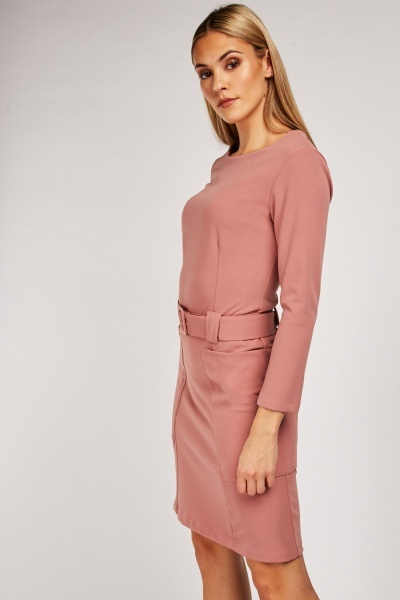 Oversized Twin Pocket Belted Dress