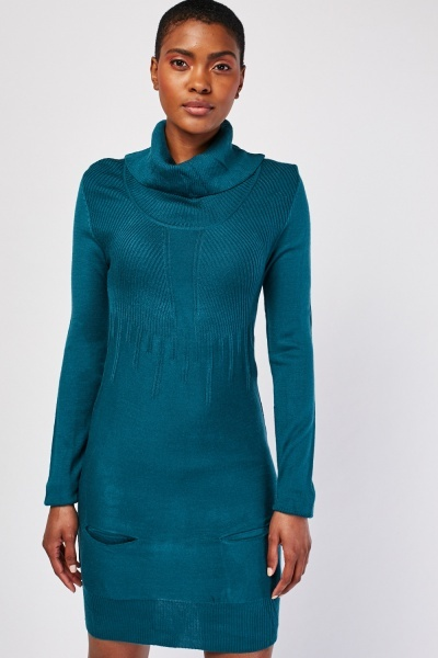 Roll Neck Rib Knit Dress